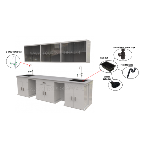 LAB WALL BENCH cw OVERHEAD CABINET